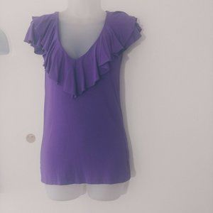 Ralph Lauren Women Blouse Top XS Ruffle Purple